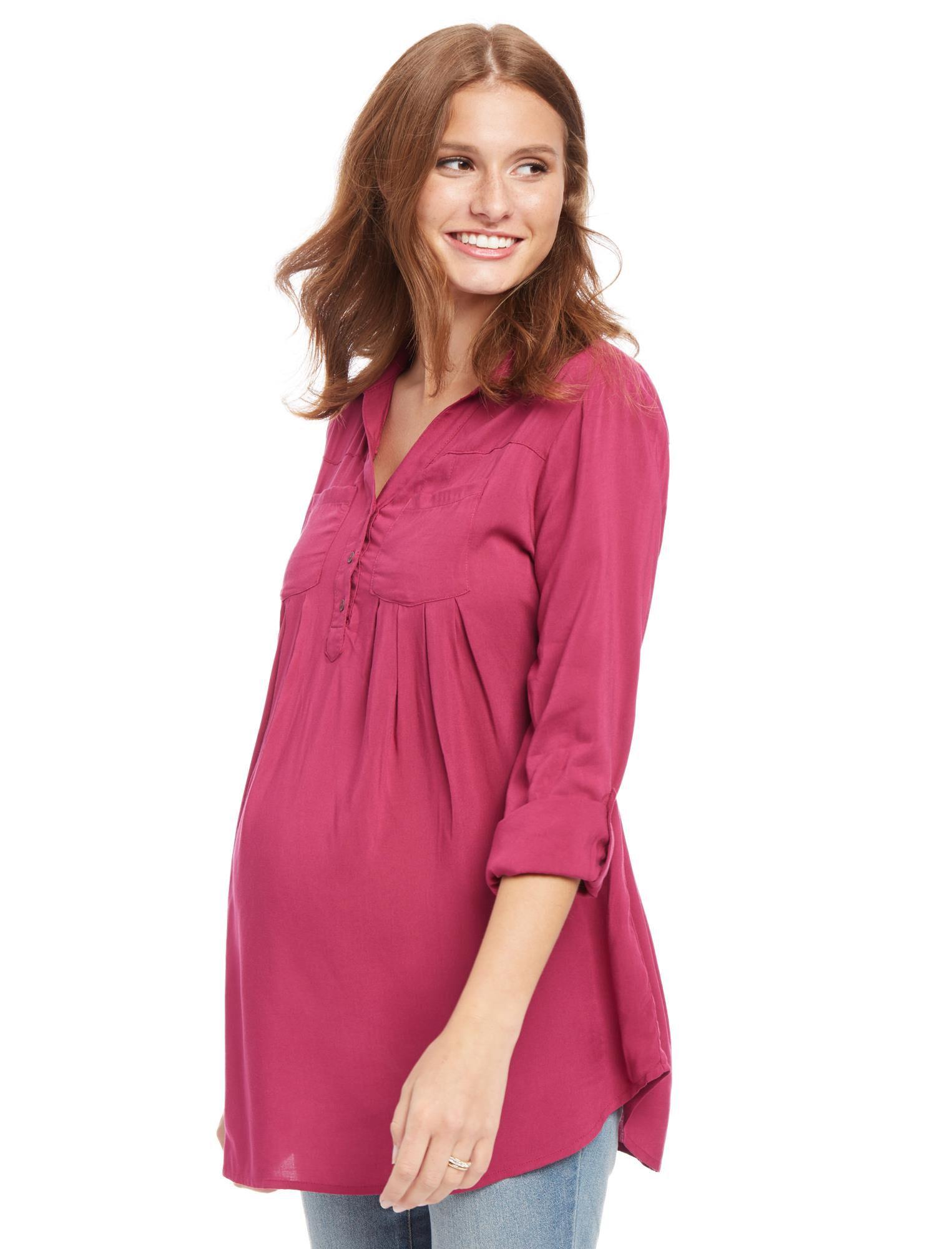 Front Pocket Maternity Shirt- Plaid