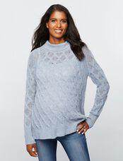 360 Cashmere Turtleneck Maternity Sweater, Blue Mist