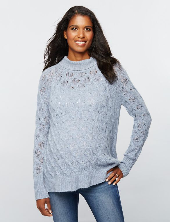 360 Cashmere Turtleneck Maternity Sweater, Blue Mist