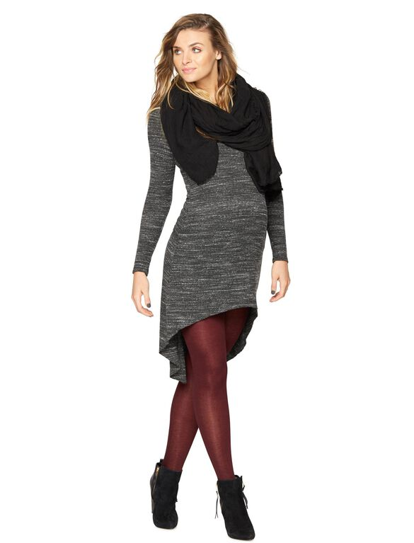 Sen High-low Knit Maternity Dress, Marled Charcoal