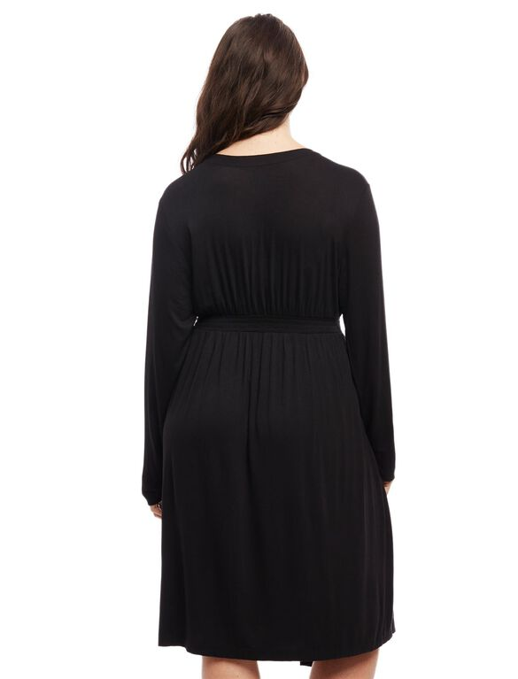 Plus Size Maternity Nightgown And Robe, Black