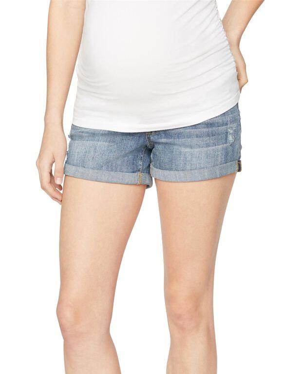Luxe Essentials Denim Secret Fit Belly Cuffed Maternity Shorts, Medium Wash