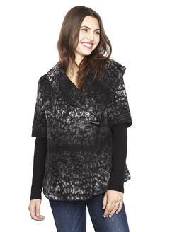 Line Toggle Closure Wool Maternity Jacket, Black/White Print