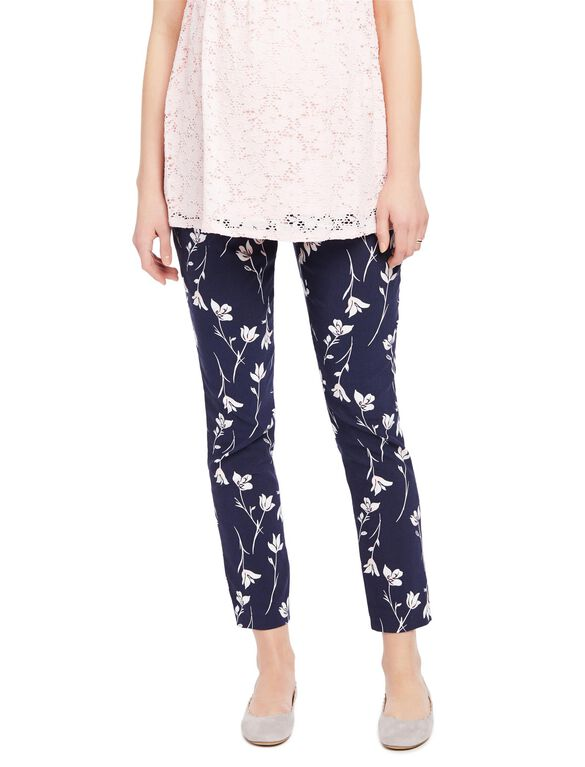 Secret Fit Belly Skinny Ankle Maternity Pants- Navy Floral,