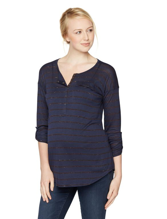 Splendid Maternity Top, Navy/Aubergine
