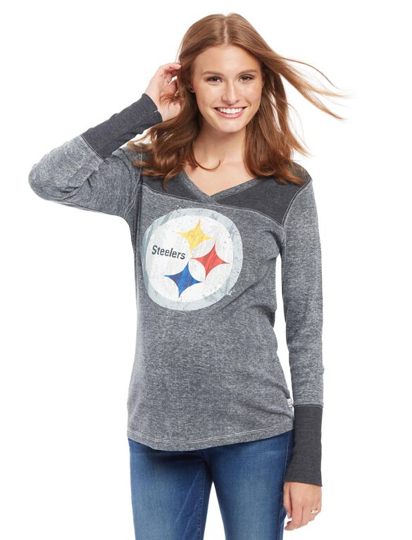 Pittsburgh Steelers NFL Long Sleeve Maternity Graphic Tee, Steelers Black