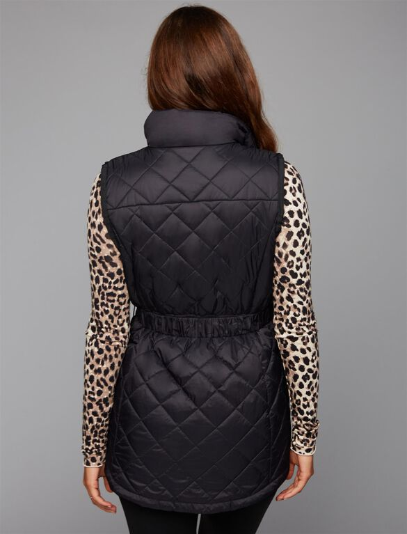 Quilted Puffer Cotton Woven Maternity Vest, Black