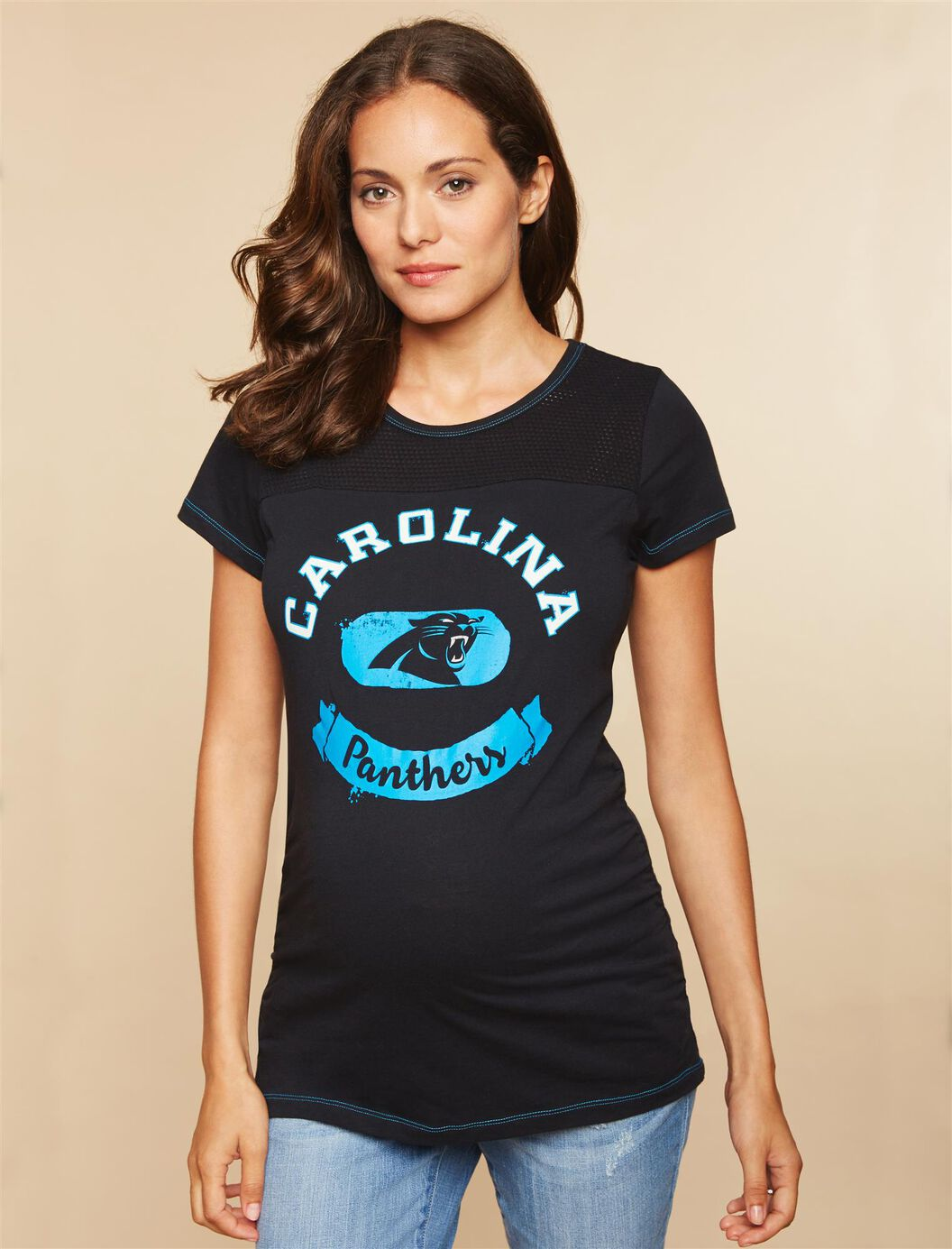 Carolina Panthers NFL Mesh Detail Maternity Tee at Motherhood Maternity in Victor, NY | Tuggl