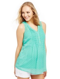 Pleated Clip Dot Maternity Blouse, Marine Green