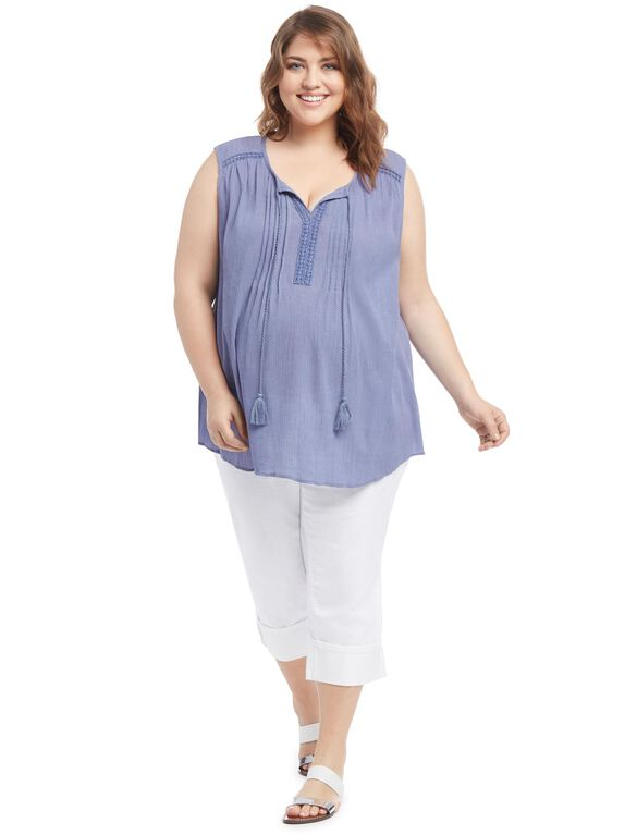 Relaxed Fit Maternity Tank Top, Blue