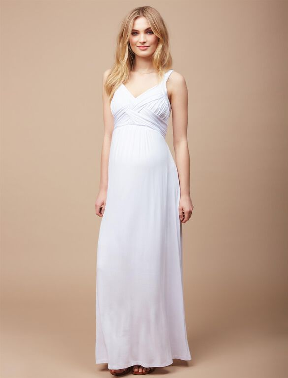 Cross Back Maternity Maxi Dress, White