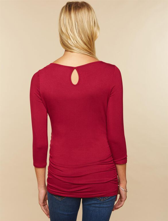 Sleeve Side Ruched Maternity Tee- Solid, Beet