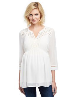 Lace Detail Babydoll Maternity Blouse, Egret