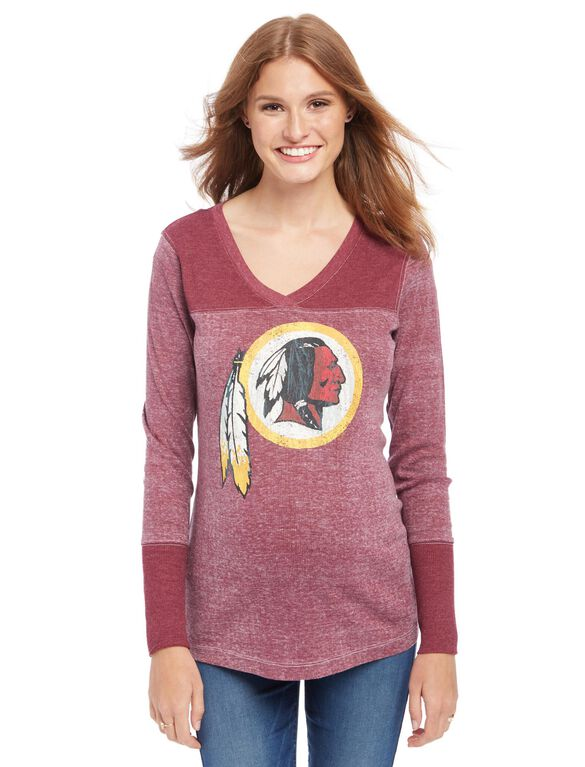 Washington Redskins NFL Long Sleeve Maternity Graphic Tee, Redskins Red