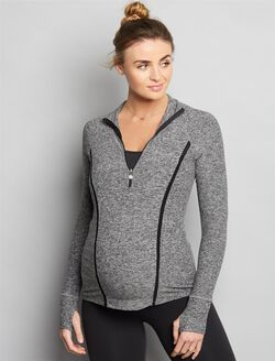 Beyond The Bump By Beyond Yoga Zip Front Maternity Jacket, Black/White