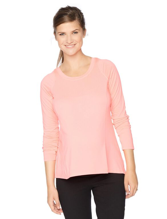 Back Interest Maternity Pull Over, Dayglow Pink