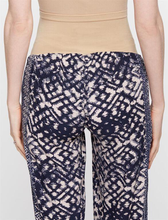 Secret Fit Belly Cotton Woven Wide Leg Maternity Pants, Print