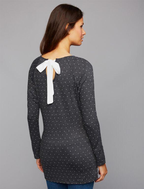 Envie De Fraise Sissy Bow Maternity Top, Black/Cream Dots