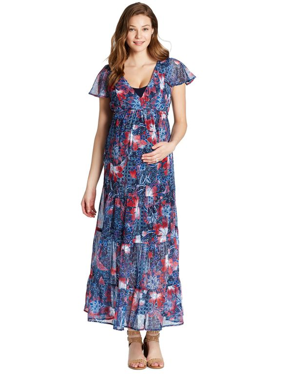 Jessica Simpson Flutter Sleeve Maternity Dress, RED/NAVY FLORAL