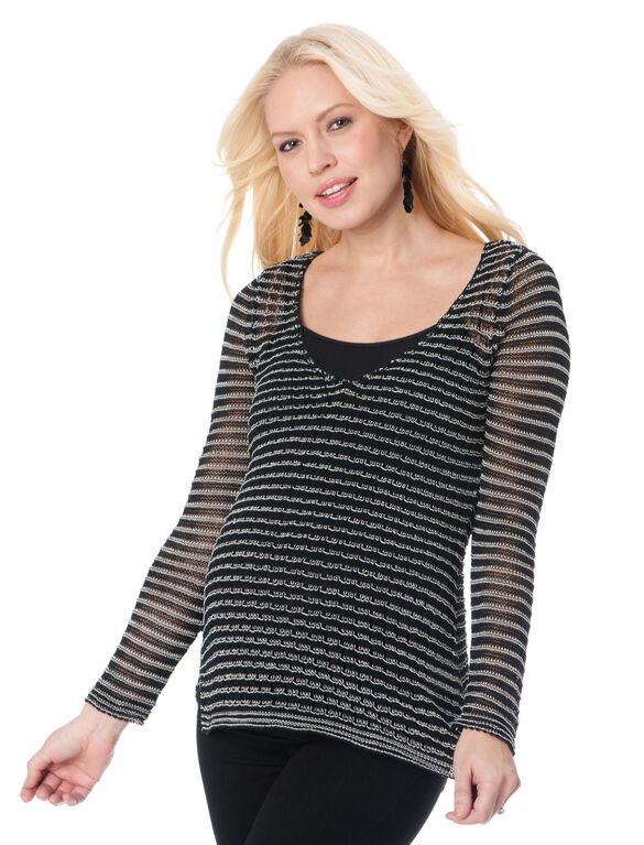 Rib Knit Maternity Sweater, Black