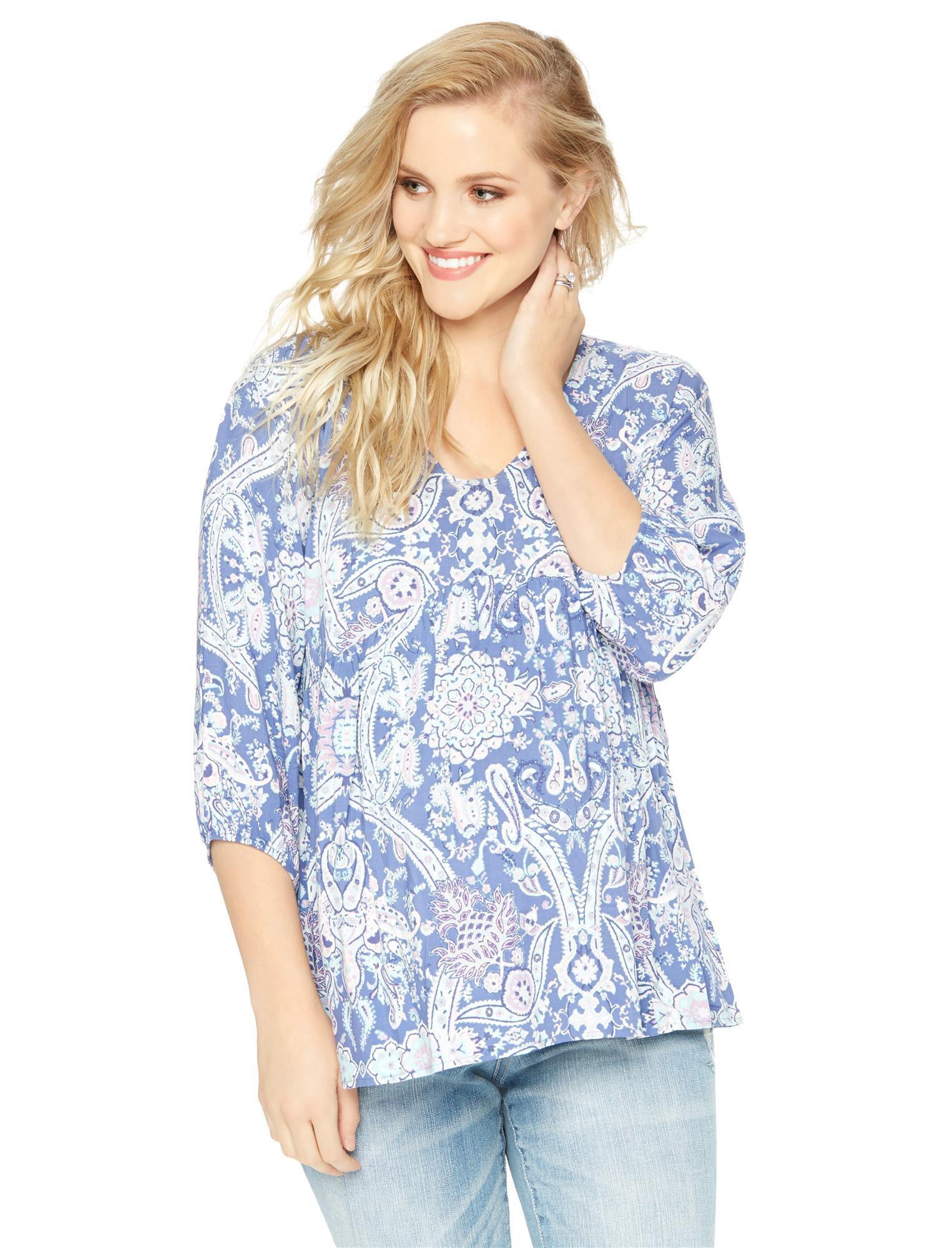 Blue Floral Maternity Blouse