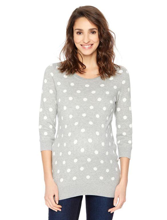 Polka Dot Crew Neck Maternity Sweater, Gray & Cream Dot