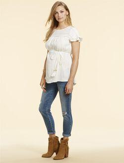 Jessica Simpson Secret Fit Belly Straight Studded Maternity Jeans, MEDIUM WASH