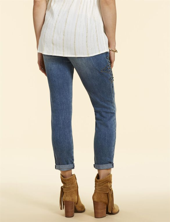 Jessica Simpson Secret Fit Belly Straight Studded Maternity Jeans, MEDIUM WASH