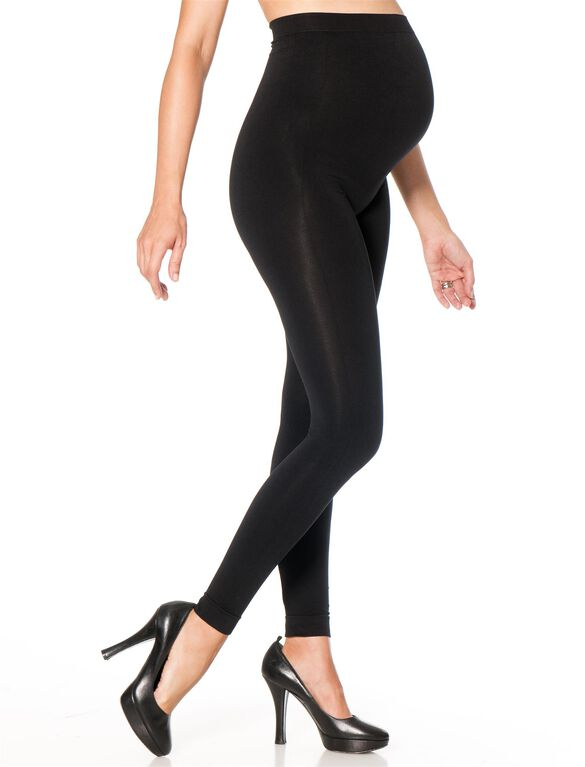 Secret Fit Belly Seamless Maternity Leggings- Black, Black