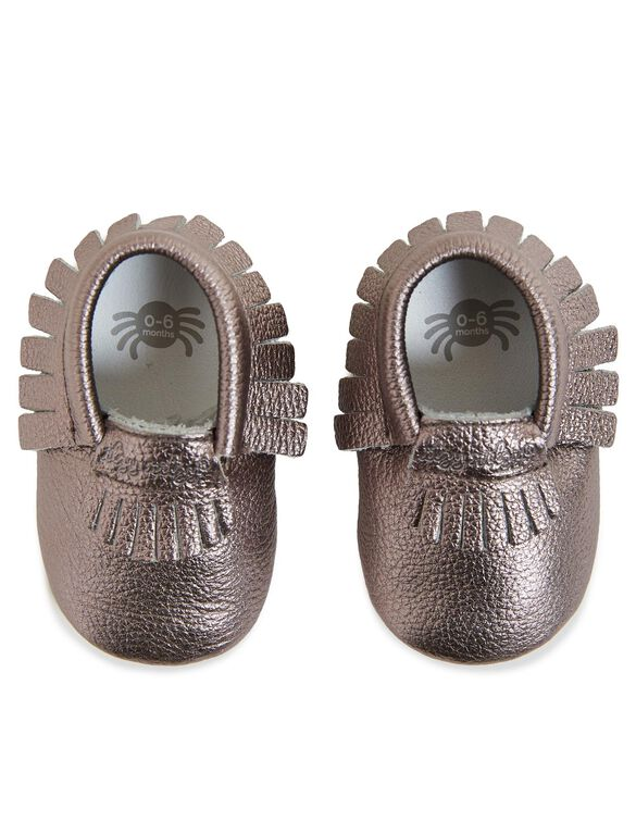 Itzy Ritzy Leather Baby Moccasins, Pewter