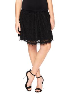 Secret Fit Belly Fit And Flare Maternity Skirt, Black Lace