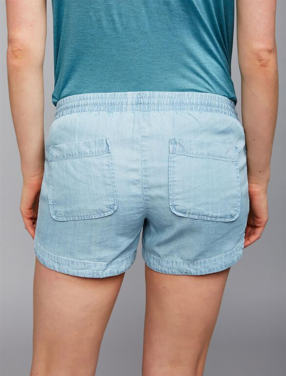 Under Belly Chambray Maternity Shorts, Lt Blue Wash
