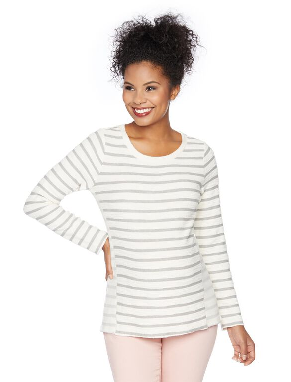 High-low Hem Maternity Sweatshirt, Ivory/Grey