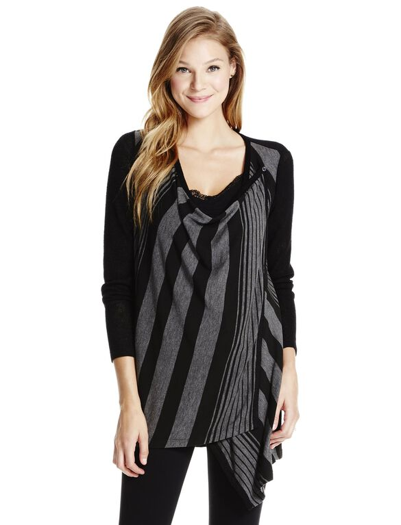 Jessica Simpson Striped Nursing Cardigan- Black/Grey, Stripe