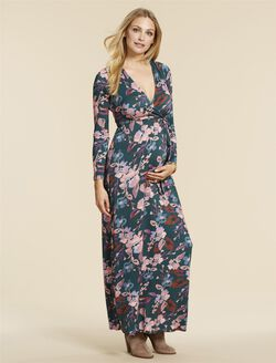 Jessica Simpson Back Interest Maternity Dress, TEAL FLORAL
