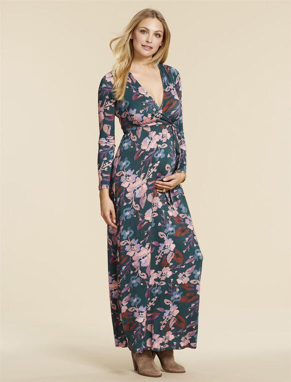 Jessica Simpson Back Interest Maternity Dress, TEAL FLORAL