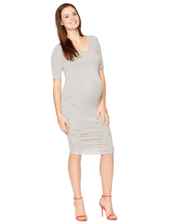Striped Side Ruched Maternity Dress, White/Black