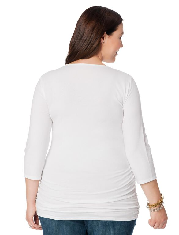 Plus Size Side Ruched Maternity T Shirt, White