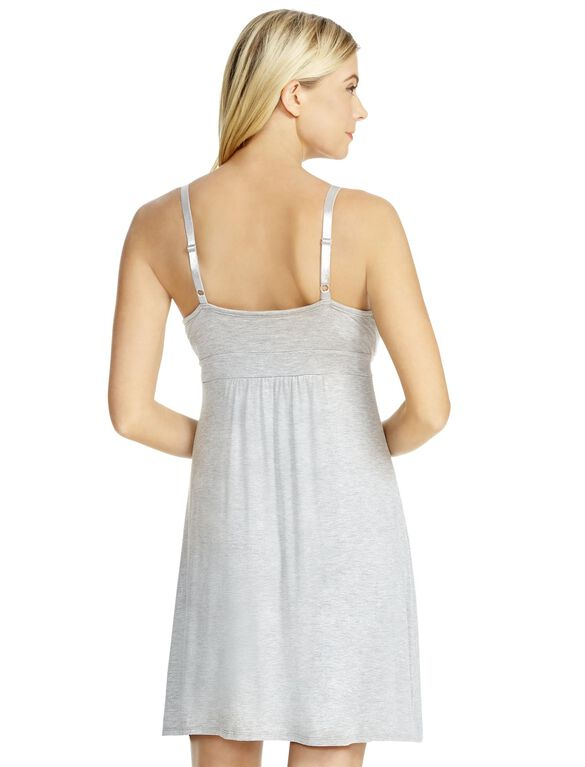 Jessica Simpson Lace Nursing Nightgown- Heather Grey, Heather Grey