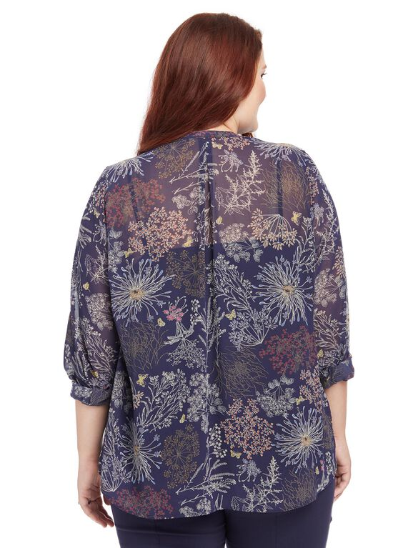 Plus Size Floral Print Pleated Maternity Blouse, Navy Garden Floral
