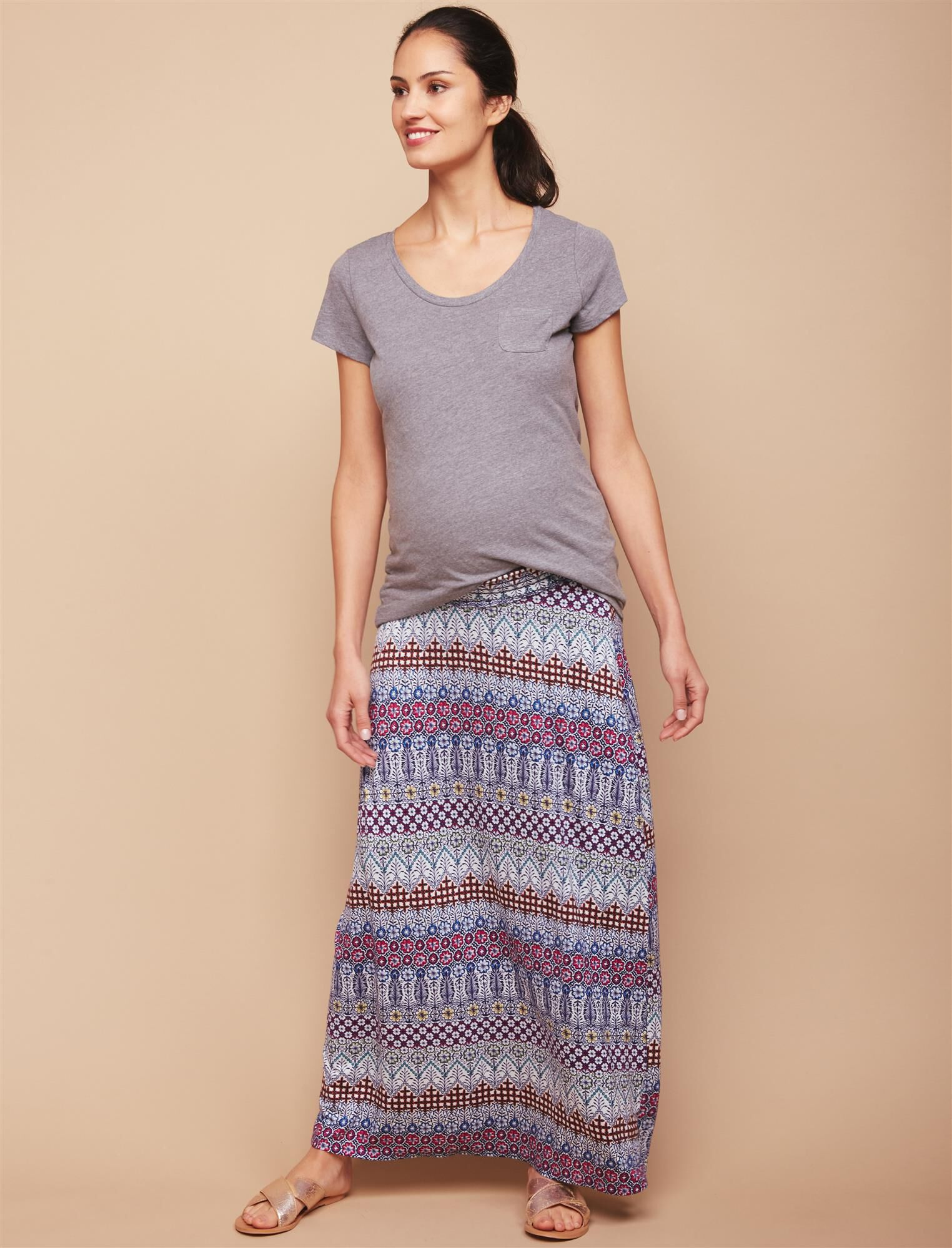 Under Belly Smock Waist Maternity Maxi Skirt- Tribal Print