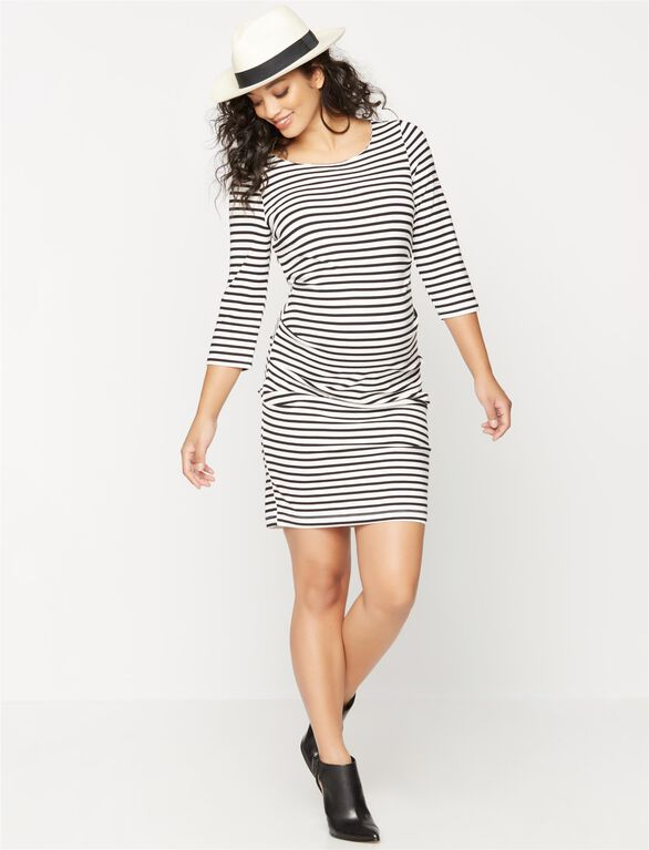 Pleated Striped Maternity Dress, Black/White