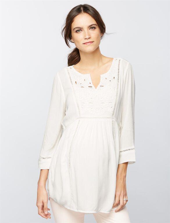 Tile Eyelet Maternity Tunic- Soft White, Soft White