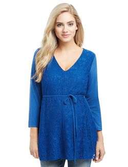 Lace Tie Front Maternity Blouse, Blue