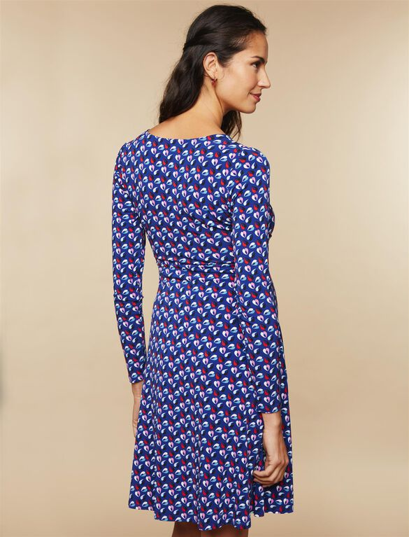 Printed Tie Front Maternity Dress, Blue Geo Print