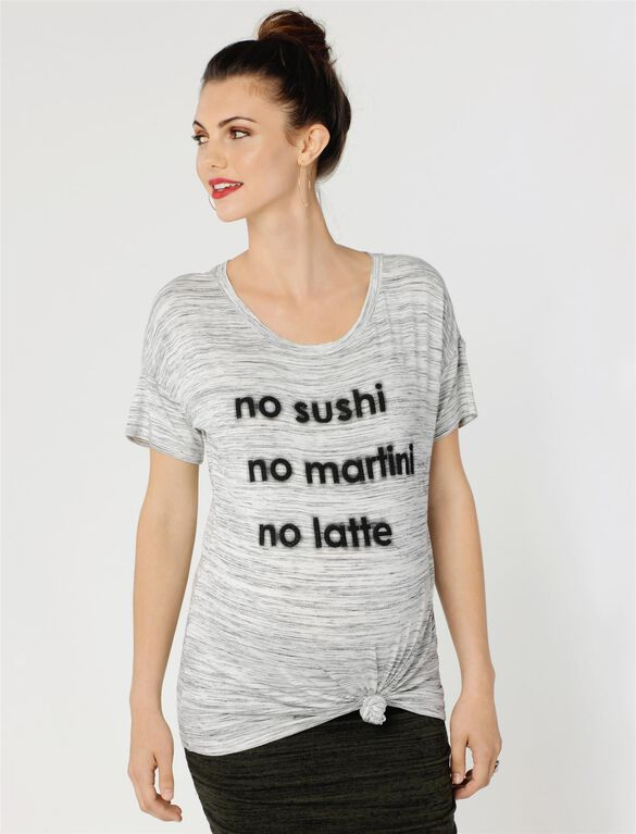 No Sushi No Martini No Latte Maternity Tee, Black/White Spacedye