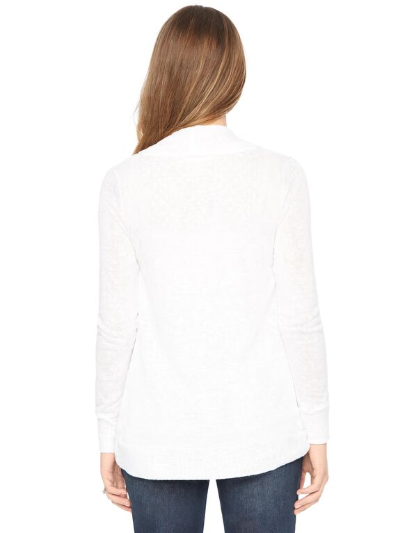 Open Front Hacci Knit Maternity Cardigan- White, White