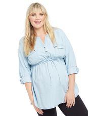 Plus Size Two Pocket Chambray Maternity Tunic, Chambray