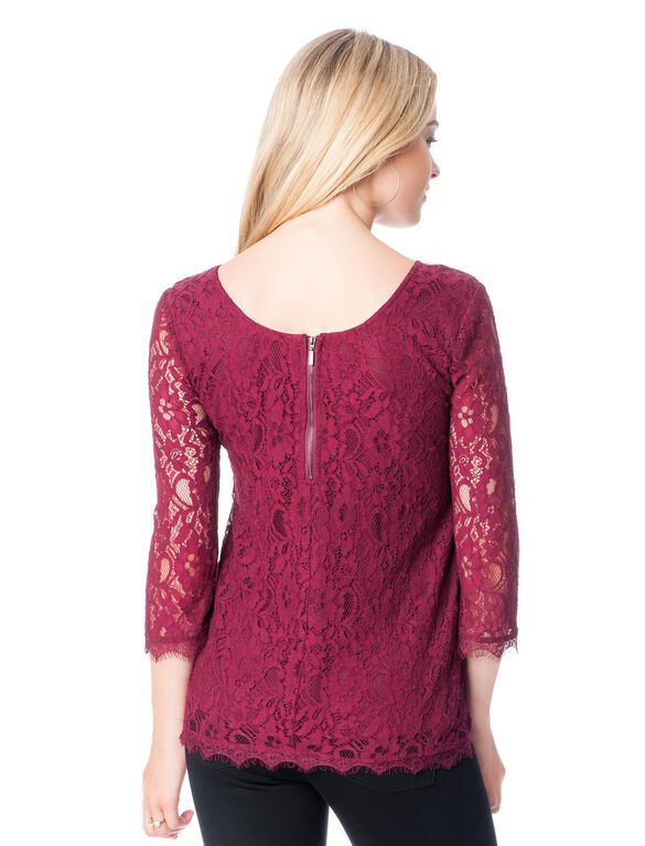 3/4 Sleeve Lace Back Zip Maternity Blouse, Burgundy