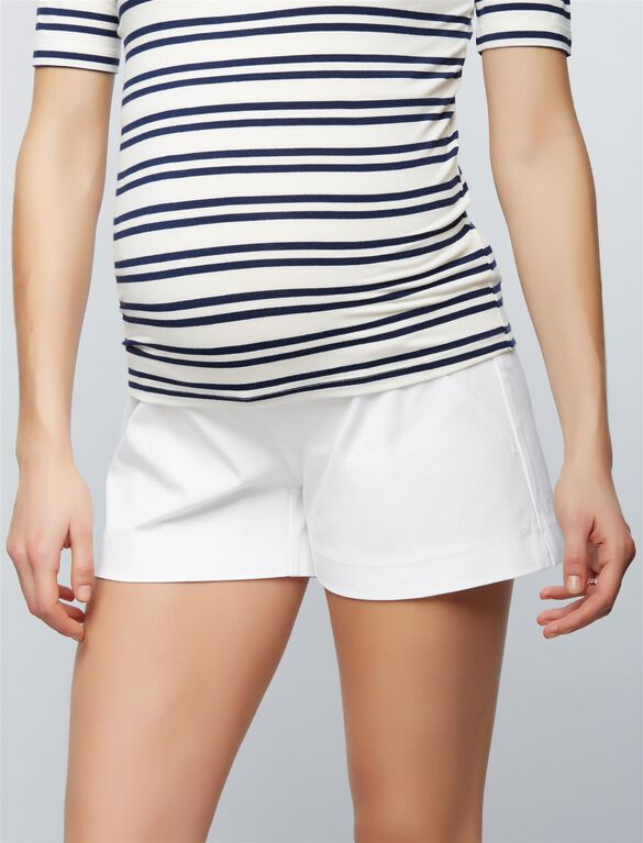 Secret Fit Belly Tailored Maternity Shorts, White